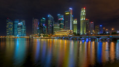 Color Flash - Singapore Skyline (1982Chris911 (Thank you 3.000.000 Times)) Tags: colour reflection skyline night canon asian eos lights singapore asia skyscrapers nightshot cloudy 7d southeast singapur singaporeskyline republicofsingapore eos7d canoneos7d canon7d