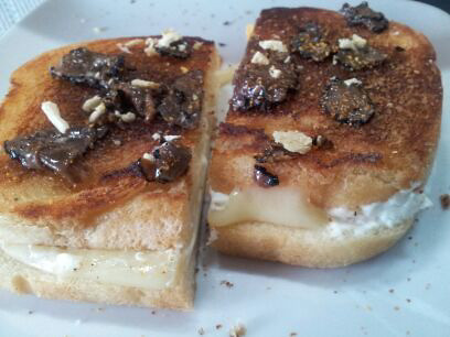 Grilled Cream Cheese & Swiss - Truffle Carpaccio - Truffle Oil - Dried Yuzu - Schichimi