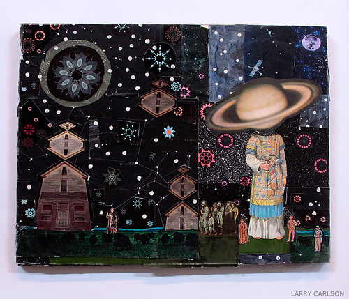 LARRY CARLSON, 2009, collage and flashe paint on board, 18inX24in.
