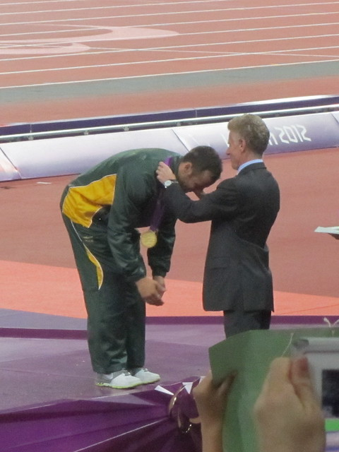 Oscar Pistorius receiving his gold medal for the men's 400m T44