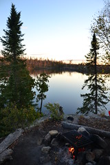 Campfire life (travh_98) Tags: sunset shadow moon water minnesota night fishing calm travis waters boundary hutchens burndown