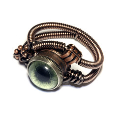 Steampunk Jewelry - Ring - Green taxidermy glass Eye (Catherinette Rings Steampunk) Tags: green eye art fashion jewelry ring steampunk