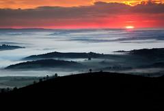 Lever de soleil (snowyturner) Tags: morning trees red sky mist france fog sunrise brittany valleys finistere menezhom aulne