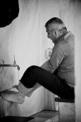 Washing for prayer (the_Inbetween) Tags: portrait bw man feet water canon turkey muslim islam prayer pray belief istanbul mosque wash faucet 5d bluemosque journalism prepare markii 70200mml