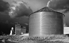 Palouse Silo Storm (Ryan McGinty) Tags: autumn blackandwhite storm fall landscape washington johnson silos palouse ryanmcginty