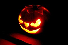 Scary Pumpkin (DaveJC90) Tags: light orange detail eye halloween face yellow tooth mouth pumpkin nose scary october focus candle bright teeth year evil sharp crop month 31st 2012 croped sharpness