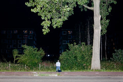 (Peter de Krom) Tags: man tree pee night path jacket peeing