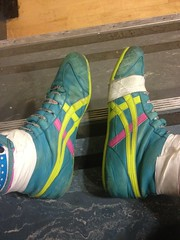 The gable classics. Size 9. Used but very useable. (Ralphysweatbands) Tags: dan leather shoes teal wrestling asics gable