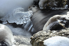 Ice on the Rocks (Mulewings~) Tags: winter water creek january 7 timedexposure creekwalk 2013