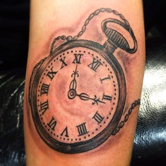 black and grey pocketwatch tattoo by Wes Fortier