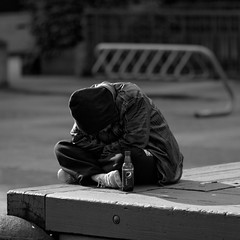 A Hard Day (John Westrock) Tags: seattle city urban blackandwhite bw white black contrast canon square person downtown chinatown streetphotography 7d wa pepsi soda resting washingtonstate internationaldistrict hardtimes leaningover 135f2l