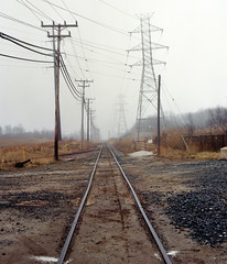 (Ben Hinceman) Tags: railroad trees winter fog landscape kodak maryland rail 400 portra traintrack utilitypoles mamiyauniversalpress mamiyasekor100mm28