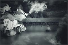 Pont de Berne (VandenBerge Photography) Tags: ancienttown basseville fribourg switzerland schweiz blackandwhite historical bridge sarine river europe travel