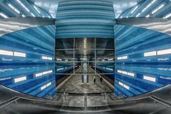 Underseas - Overseas (uneitzel) Tags: blue station architecture subway distorted metro hamburg bahnhof fisheye ubahn architektur blau hafencity samyang berseequartier olympusem5 walimex75mm