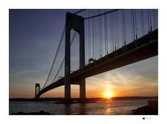 Verrazano bridge sunset (NYC sharpshooter) Tags: bridge brooklyn verrazano sunset architecture staten island water city sky travel new ny suspension york nyc river metropolis transportation landmark narrows urban america bay connection engineering sea harbor steel highway clouds twilight evening skyline color dramatic traffic bridging verrazanonarrows silhouette infrastructure spanning metropolitan sunrise orange expressway over red nueva dawn