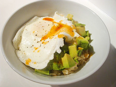 Rice Bowl with Fried Egg and Avocado (ljstubbs) Tags: avocado bowls brownrice eggs food greenonions hotsauce lunch recipe redwinevinegar saltandpepper vegetarian