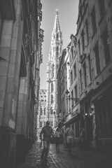 To the Grand Place (David Kutschke) Tags: brussels brssel townhall rathaus grand place grote markt blackwhite black white bw schwarzweis alley alleyway gasse