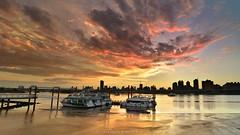 () (szintzhen) Tags: dadaochengwharf sunset sunglow boat cloud water sky reflection photomerge taipeicity taiwan