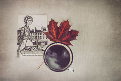 coffee with molly malone (Zborowska) Tags: dublin coffee molly malone post card red leaf picture mug mussels dream dreams