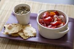 Finger food: aubergine's caviar and mint cherry tomatoes (Luca Nebuloni) Tags: food cibo aubergine caviar mint tomatoes melanzana caviale pomodorini menta mangiaconme