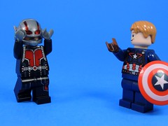Fanboy (MrKjito) Tags: lego minifig marvel captain america ant man scott land steve rodgers fanboy fan super hero cinematic universe civil war meet up