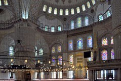 Inside the Blue mosque, Istanbul (chrisdingsdale) Tags: mosque istanbul turkey architecture religion islam blue ottoman sultan turkish travel interior dome design islamic arabic muslim ornamental famous tourism religious arch sultanahmet inside cupola ceiling indoor decoration ornament colorful traditional ornate orient old landmark column gold culture oriental