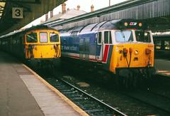Busy Salisbury (pete.callaway) Tags: salisbury class50 50029 class33 33102 britishrail networksoutheast locomotive