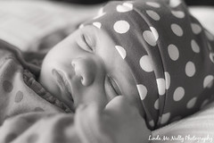 Ruby Ellen (linda_mcnulty) Tags: sleeping blackandwhite bw baby cute girl monochrome hat sepia sleep naturallight babygirl newborn polkadot newbaby