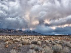 Evening Lowering, Bishop, CA, NIK (tanngrisnir3) Tags: sunset storm clouds landscape evening pond farmers dusk whitemountains bishop owensvalley calfiornia jeanblancroad