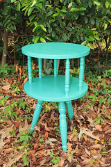 IMG_8455 sm (Its Lina) Tags: green vintage table diy furniture painted mint spindles after makeover circular mintgreen threelegs refinished sidetable sixdandylions