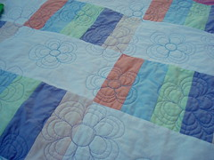 Twin Quilts (caroleannctd) Tags: baby quilt blanket quilting jellyroll 9patch konasolids loopyflowers
