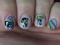 Failed Again in Townsville, Kind Of - Result (CucumPear) Tags: polish powerpuffgirls nailpolish acrylicpaint nailart