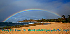 rainbow (bluewavechris) Tags: ocean park sea sky tree beach water rain hawaii rainbow scenic maui palm hookipa