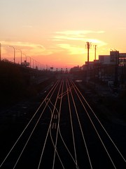Sunset from Strachan (Georgie_grrl) Tags: light sunset sky toronto ontario beautiful lines clouds curves tracks lovely highlighted onexplore endoftheday cans2s mydarkpinkside samsungd760