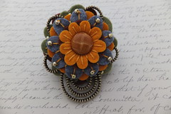 Soft colors with a leather button. (MsLolaCreates) Tags: flower thread leather silver beads pin brooch craft sew felt button zipper mslolacreates