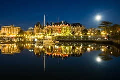 Full Moon Night at Victoria  (Sharleen Chao) Tags: travel moon canada reflection water night canon harbor boat downtown cityscape bc nightshot victoria fullmoon mooning nightscene     1635mm  fairmontempresshotel    canoneos5dmarkiii canon5dmarkiii