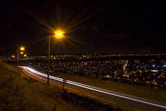 Halifax by night (Neil Barraclough) Tags: cars lamp night streetlight traffic yorkshire scenic peaceful busstop citylights lighttrails halifax carlights westyorkshire calderdale reverselights