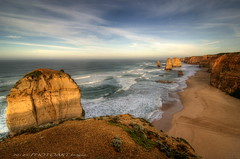 Limestone stacks (PhotoArt Images) Tags: sunset seascape beach coast rocks australia cliffs coastline greatoceanroad hdr 12apostles portcampbell tokina1116 jesuscmsfavoritesgallery photoartimages