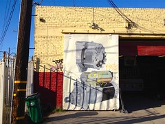 Voltage (misterbigidea) Tags: auto street door city shadow red urban signs building brick art sign yellow electric metal wall illustration landscape artwork alley view mechanical telephone garage battery automotive pole equipment generator repair handpainted stockton charge volts voltage regulator alternator signpainter