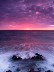 One Palm Sunset (FromHereOnIn.com) Tags: ocean pink sunset seascape water beautiful wonderful print landscape photography hawaii waves photographer picture slowshutter tropical bigisland 808 christopherjohnsonfromhereonin