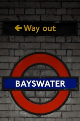 150 (rmaspero) Tags: old bw london station sign wall train way out underground subway tube wayout bayswater selectivecolour londontube150