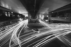 城市奔流 (Zeboyi) Tags: sony 黑白 台北車站 市民大道 天橋 城市夜景 alpha99 承德路 車軌 疊圖 carlzeiss1635mmf28