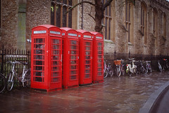 Telephone Boxes (FreddieBrown) Tags: cambridge nikon telephone bikes velvia fujifilm boxes f4