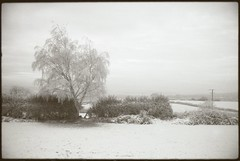 Coniston (fawcetownsley) Tags: winter red blackandwhite bw snow film nature clouds lens landscape diy yorkshire rangefinder wideangle olympus developer sw 40mm om rodinal schwarzweiss chemicals lightmeter zuiko 100asa fixer v500 17min polypanf ro9 1to50