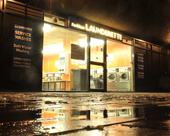 Barbican Launderette, London, EC1 (J@ck!) Tags: reflection london night barbican laundromat launderette ec1