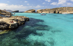 The Blue Lagoon, Comino (Steve Millward) Tags: nikon nikkor d750 2470 fx fullframe raw imagequality perspective interesting malta europe mediterranean travel eu holiday vacation colour summer season scenic light mood moment bluelagoon swimming comino water clear beautiful