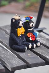 Black bear wedding figurines (noristudio3o) Tags: bear black wedding decorations cake topper centerpiece woodland animal decor noristudio needle felting felted handmade figurines miniature orange