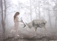 The deer whisperer.  (gusdiaz) Tags: photoshop photomanipulation digital art arte deer stag woman model forest bokeh winter vacation bosque ciervo mujer modelo grass composition composite fantastic pastel pasteles butterly butterflies mariposa