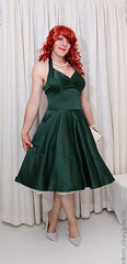 Green pinup dress (eileen_cd) Tags: pinup greendress polkadot highheels redhead pearlclutchbag crossdresser transvestite cd tv