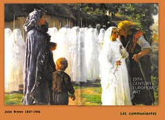 Les Communiantes (Kay Harpa) Tags: lescommuniantes photosandpaintings past catholiques chrtiens religion premirecommunion communionsolennelle robeblanche whitedress sotherbys photofamily france europe thebiggestgroup julesbreton